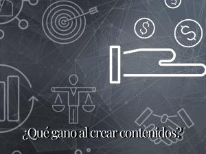Mano, balanza y target representando los beneficios de crear contenido