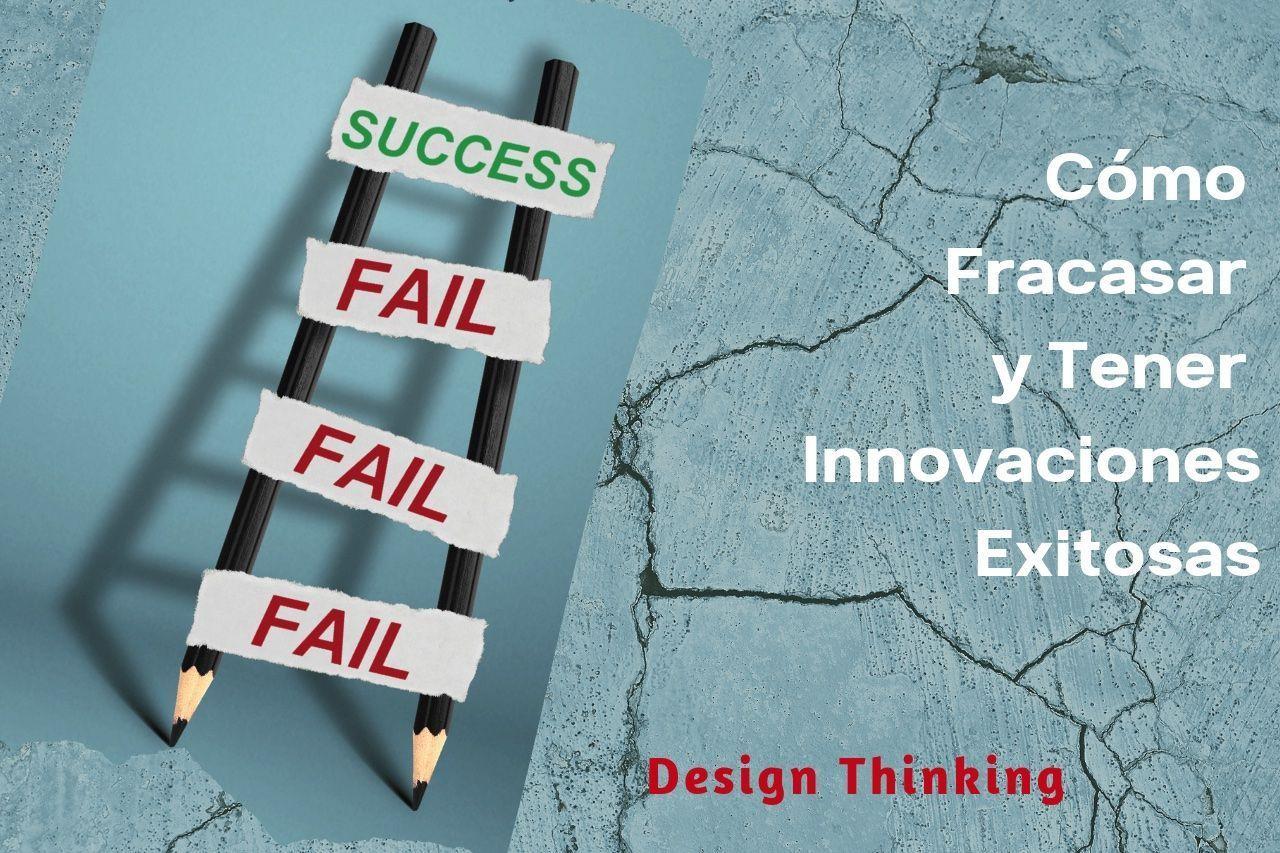 Escalera de lápices con etiquetas de fallos y logros simula design thinking y fracaso
