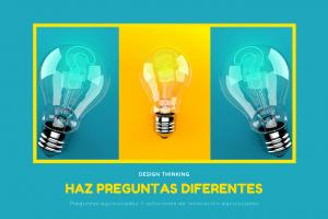 2 bombillas azules y una amarilla para explicar preguntas diferentes Design Thinking