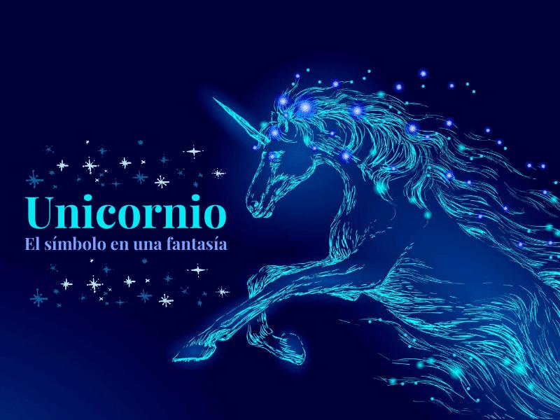 Dibujo del mito del unicornio en color azul
