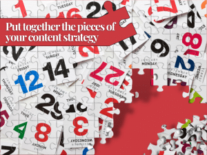 Red and white puzzle to show the elements of the editorial calendar